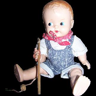 "Ideal Celluloid Boy Fisherman Doll 11"""