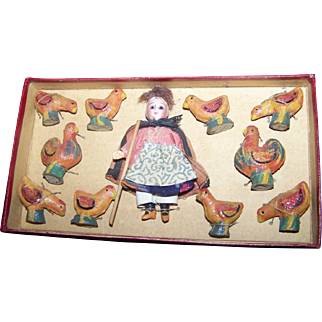 Boxed French/German Doll Composition Chickens
