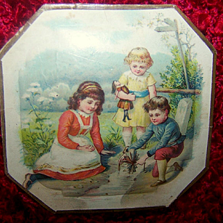Antique Victorian Octagon Candy Box With Doll/Children Playing in Water Litho Box