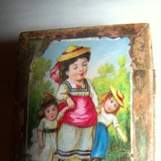 Litho Cardboard Ring/Jewelry Box Antique/Vintage Doll