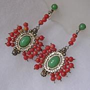Coral & Imitation Jade Silver Pendant Earrings