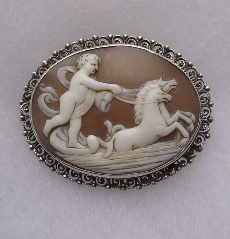 Carved Shell Cameo Brooch in Silver Frame