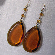 Art Deco Faceted Amber Glass Pendant Drop Earrings