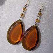 Art Deco Faceted Amber Glass Pendant Drop Earrings