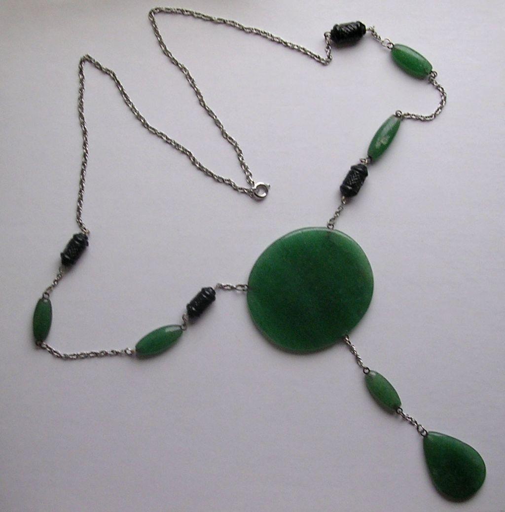 Vintage Art Deco Style Aventurine Pendant Necklace