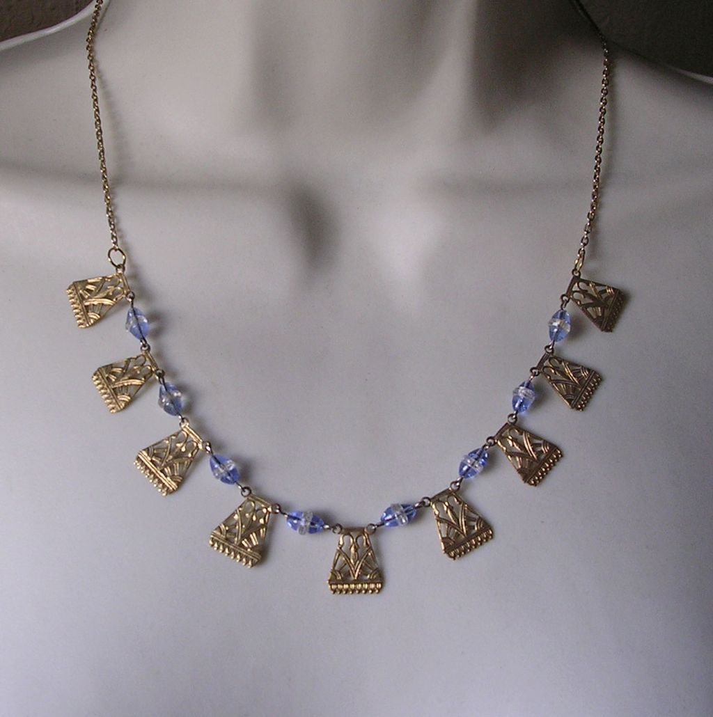 art deco egyptian style blue glass necklace from