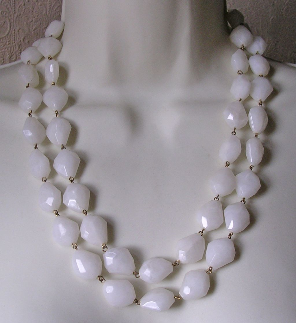 Vintage 1950's West German Lucite Double Strand Faceted Bead Necklace