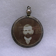 Antique Hallmarked Sterling Silver Photo Watch Fob Pendant 1907