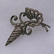 Glamorous Sterling Silver Marcasite Cocktail Brooch c1954
