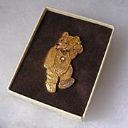 Vintage Boxed Steiff Enamel Teddy Baby Pin