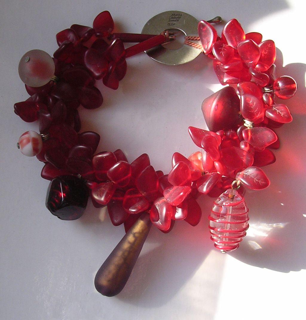 Italian Designer Marina Sinibaldi Benatti Venetian Glass Charm Bracelet or Anklet