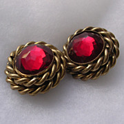 Vintage Butler & Wilson Garnet Rhinestone Clip Earrings