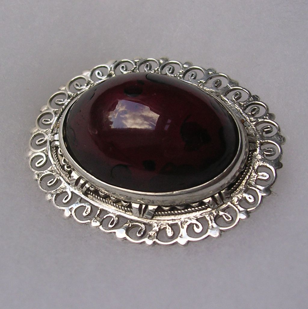 Impressive Antique Sterling Silver & Amber Brooch