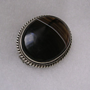 Victorian Sterling Silver & Striped Agate Brooch