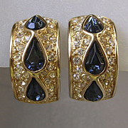 Sapphire Rhinestone Half Hoop Earrings Signed Leritz