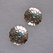 Signed Native American Sterling Silver & Turquoise Earrings