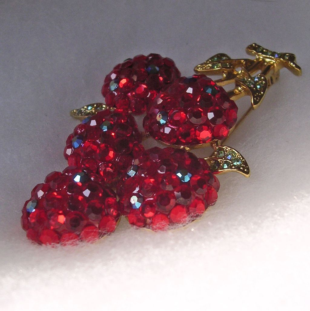 Stunning Suzanne Bjontegard Rhinestone Cherry Brooch