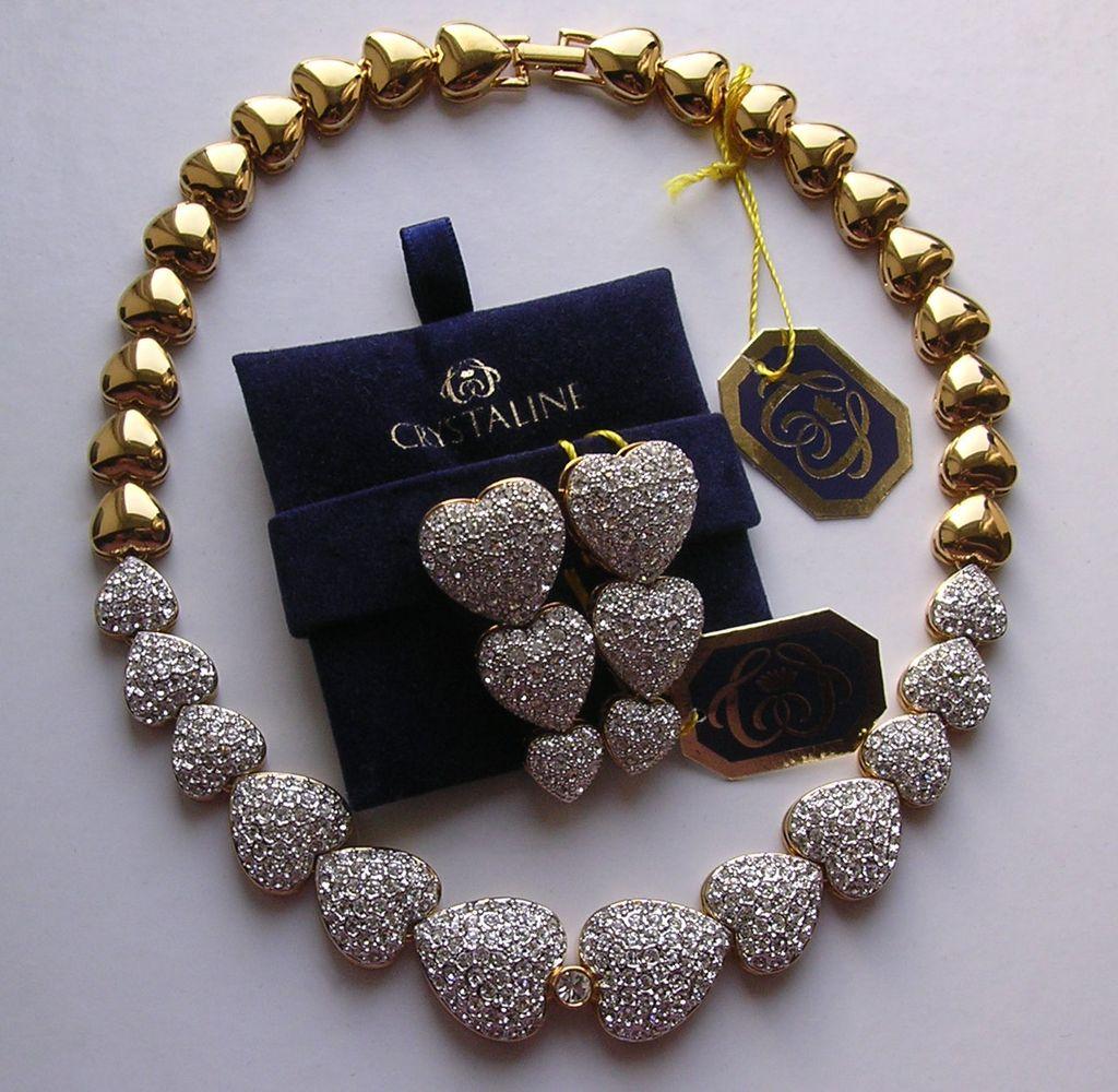 Fabulous Vintage Crystaline Crystal Hearts Collar Wedding Necklace & Earrings