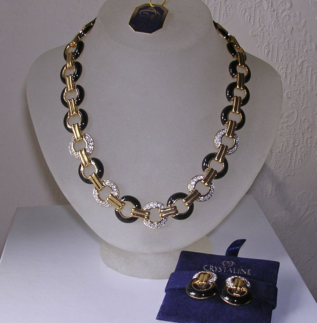 Vintage Crystaline Enamel & Crystal Collar Necklace & Earrings