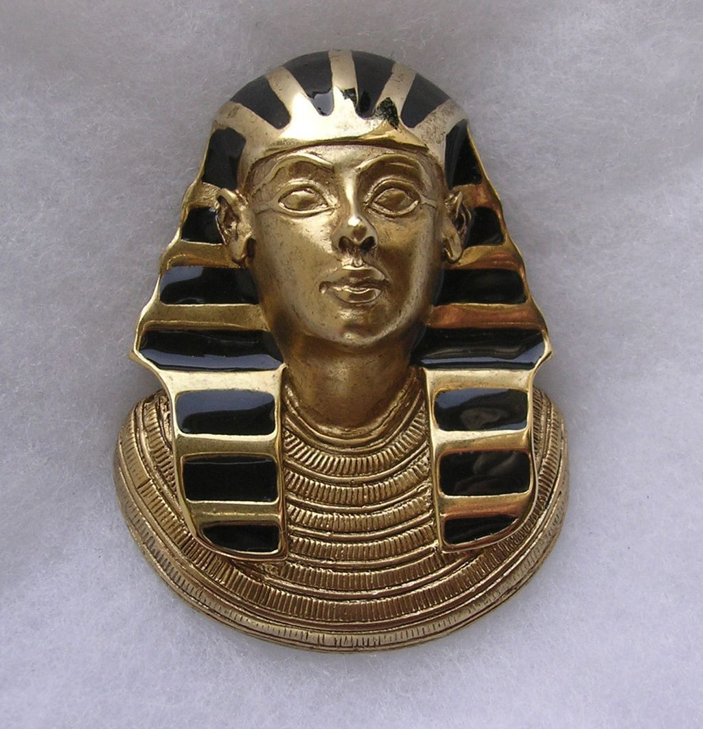 Vintage Erwin Pearl Enamel Egyptian Pharaoh Brooch Necklace Enhancer