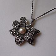 Art Deco 900 Silver Marcasite & Imitation Pearl Pendant