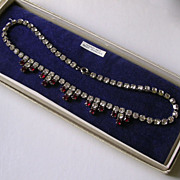 Vintage Boxed Garnet & Clear Rhinestone Necklace