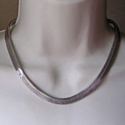 Heavy Vintage Sterling Silver Herringbone Collar Necklace