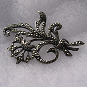 Art Deco Silver Marcasite Floral Spray Brooch