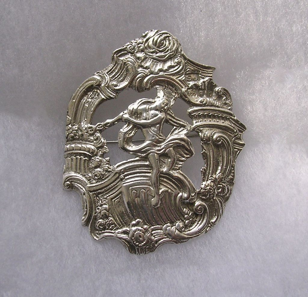 Antique Victorian Sterling Silver Brooch depicting Mythological god Hermes or Mercury