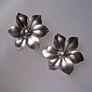 Signed Mid Century Sterling Flower Earrings - Bick & Son