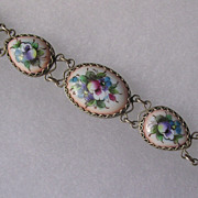 Russian Finift Hand Painted Porcelain Enamel Egg Shape Link Bracelet