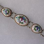 Russian Finift Hand Painted Porcelain Enamel Egg Shape Link Bracelet