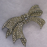 Art Deco Rhinestone Bow Brooch