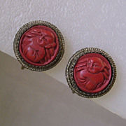 Vintage Chinese Carved Cinnabar Buddha Earrings