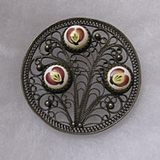 Russian Finift Sterling Silver Hand Painted Porcelain Enamel Brooch