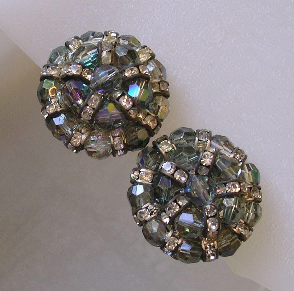 Aurora Glass Bead & Rhinestone Rondelle Clip Earrings