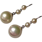 Fabulous Vintage Imitation Pearl Pendant Earrings