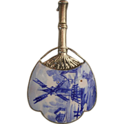 Fan Shaped Delft Ware Enamel Brooch