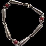 Italian Mid Century Modern Sterling Silver & Coral Bracelet