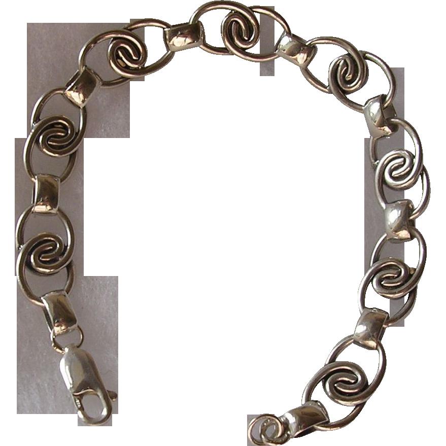 Vintage German Mid Century Modern Sterling Silver Bracelet