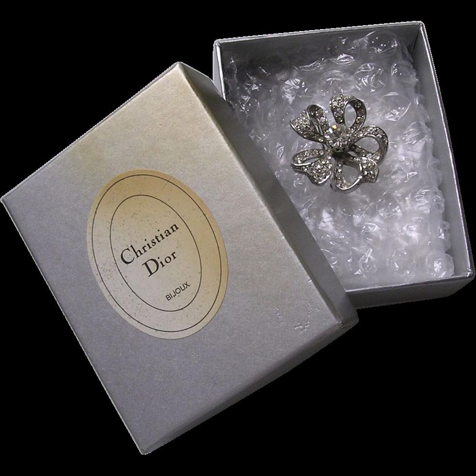 Boxed Christian Dior Mitchel Maer Rhinestone Bow Brooch
