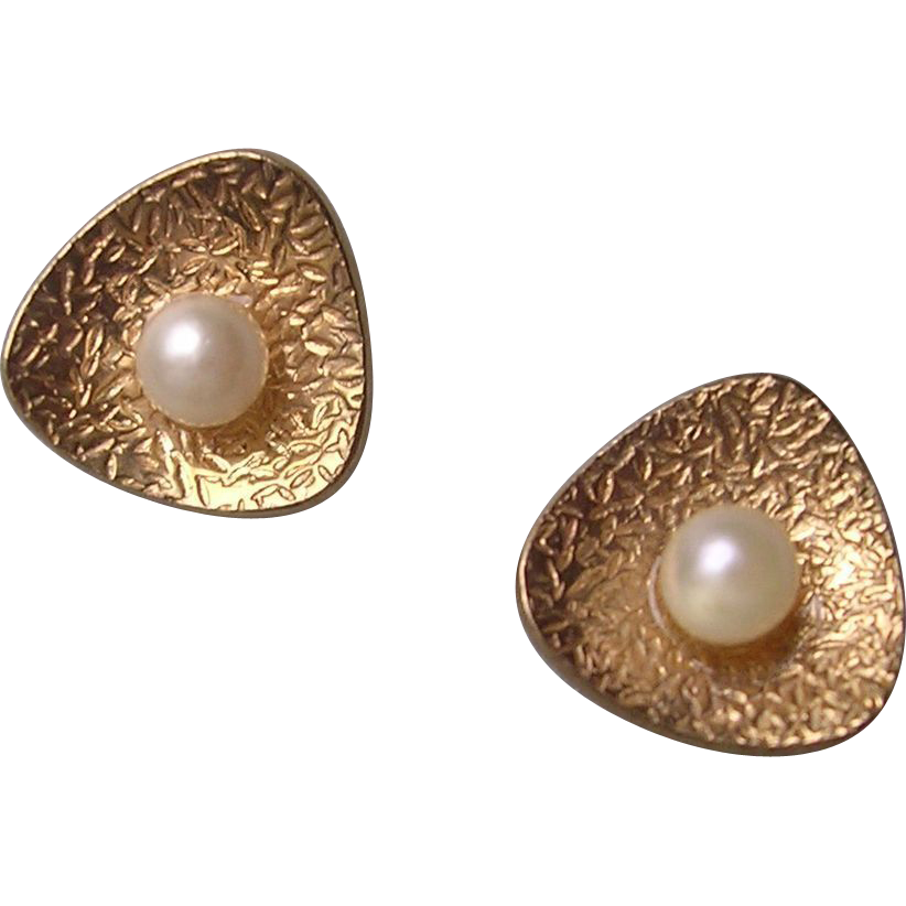 Modernist Style Gold & Cultured Pearl Earrings