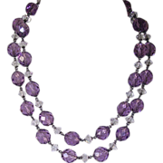 Edwardian 935 Silver Amethyst Faceted Crystal Bead Necklace