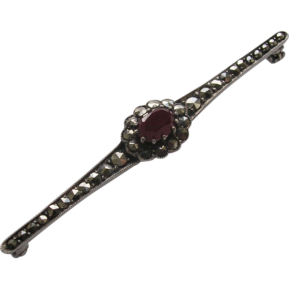 German Art Deco 935 Silver Marcasite & Carnelian Bar Brooch