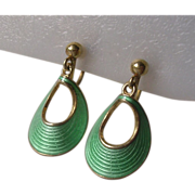 Norwegian Sterling Green Guilloche Enamel Earrings Finn Jensen