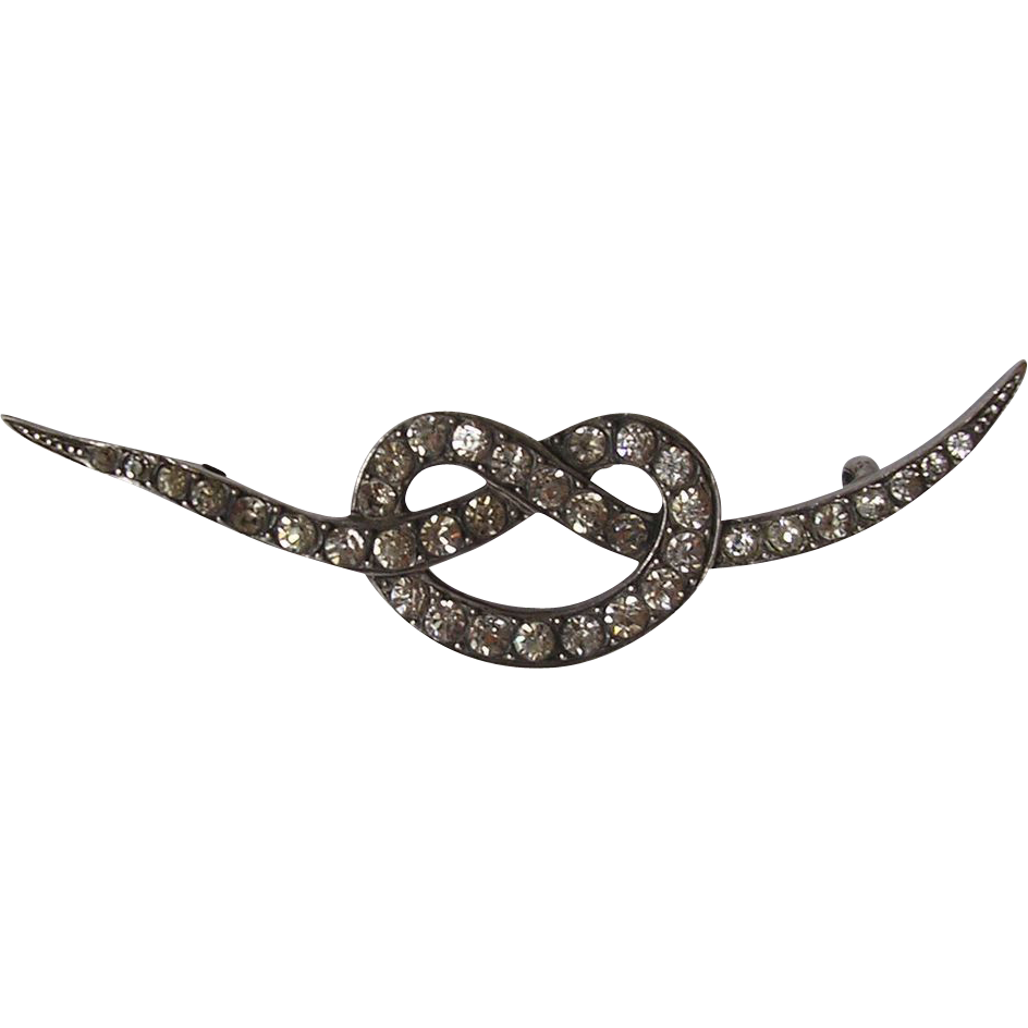 Victorian 900 Silver & Paste Lovers Knot Brooch