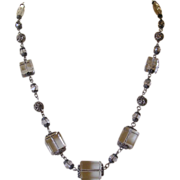 Art Deco Cube Glass Necklace