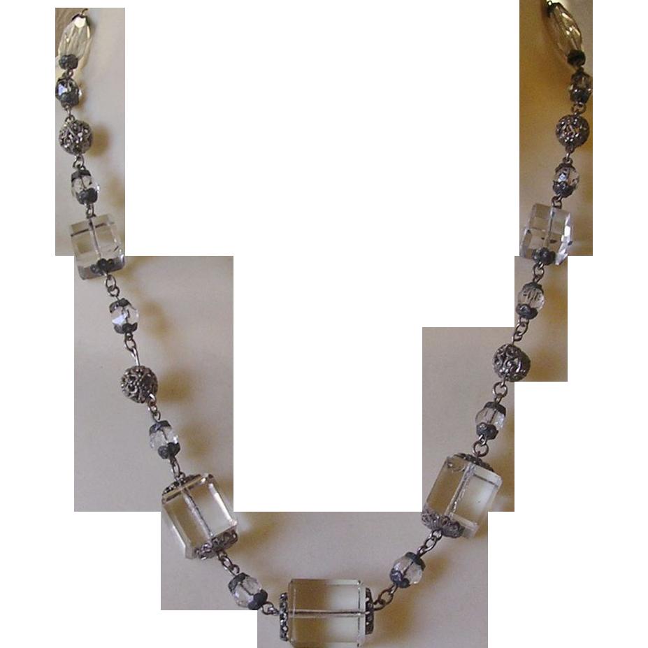 Art Deco Cube Glass Necklace