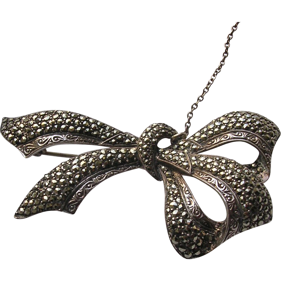 Signed Large Sterling Silver Marcasite Bow Brooch 1954