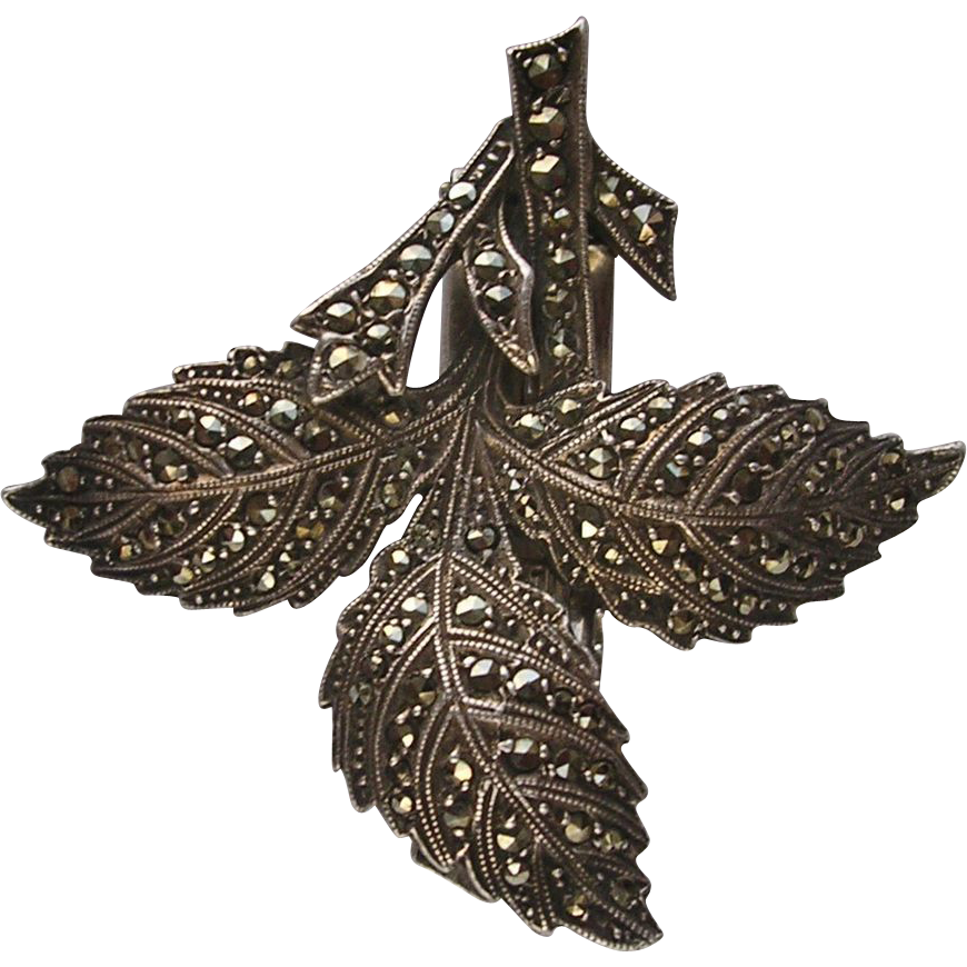 German Art Deco 935 Silver DRGM Marcasite Leaf Dress Clip
